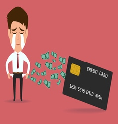 Businessman with credit card debt concept vector