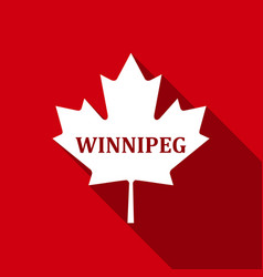 Canadian maple leaf with city name winnipeg flat vector