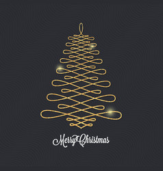 christmas tree golden design on black background vector image