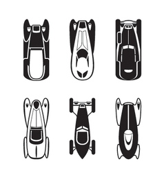 Classic and retro cars from above vector