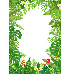 Colorful frame with tropical plants vector