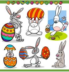 Easter bunnies set cartoon vector