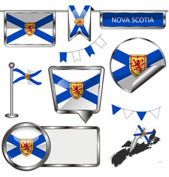 Glossy icons with flag of province nova scotia vector