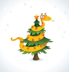 Happy snake on the christmas tree vector