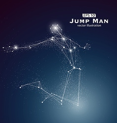 Jump man dots and lines connected together a sense vector