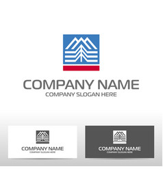 logo design with mountains and forest vector image