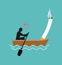 Lover smoke man and cigarette boating smoker walk vector