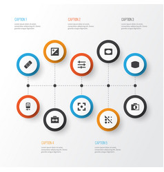 Picture icons set collection of capture setting vector