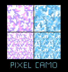 pixel camo seamless pattern big set urban pink vector image