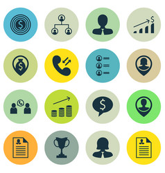 Set of 16 human resources icons includes coins vector