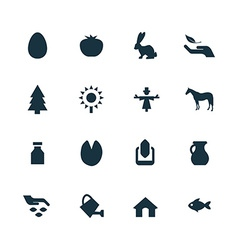 set of agriculture farm icons vector image