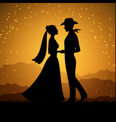 Silhouettes of young woman and cowboy man vector