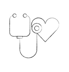 Stethoscope shaped heart health symbol vector