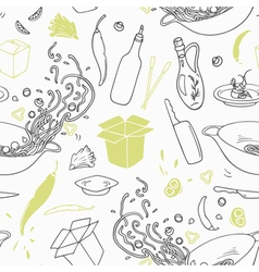 Stylized seamless pattern with hand drawn wok vector