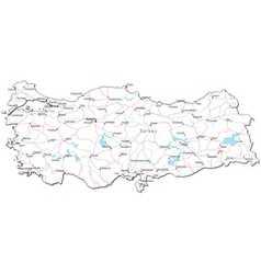Turkey Black White Map vector image vector image