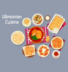 Ukrainian cuisine traditional lunch dishes icon vector