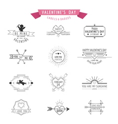 Valentines Day - Set of Badges and Labels vector image vector image
