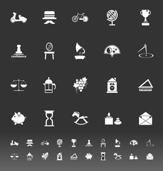 Vintage item icons on gray background vector