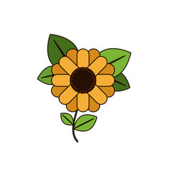 White background with abstract sunflower with stem vector