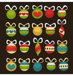 Christmas balls decoration cartoon style vector