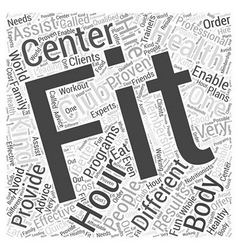 Hour fitness word cloud concept vector