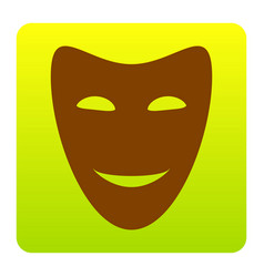 Comedy theatrical masks brown icon at vector