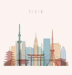 tokyo japan city skyline silhouette vector image