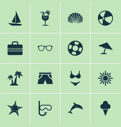 Season icons set collection of star bead dinghy vector