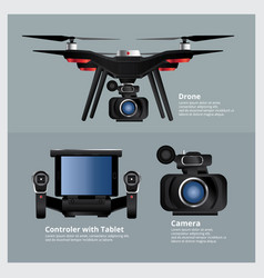 Drone with vdo camera and controller vector