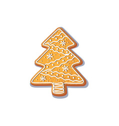 Gingerbread christmas spruce tree cookie vector