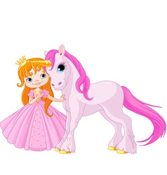 Cute Princess and Unicorn vector image