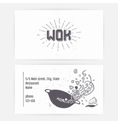 Business card with wok noodles hand drawn logo vector