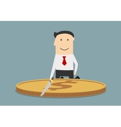 Businessman cutting a huge dollar coin vector