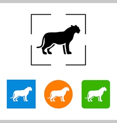 Silhouette big cat icon vector