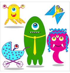 Cute funny monsters family vector