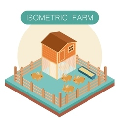 Isometric farm house for rabbits vector image