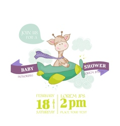 Baby giraffe shower card - with place for text vector
