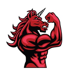 Unicorn bodybuilder muscular body vector