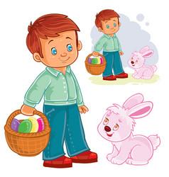 A little boy with a basket vector