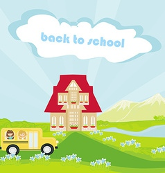A school bus heading to school with happy childr vector