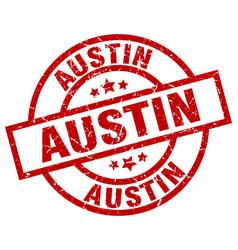 Austin red round grunge stamp vector