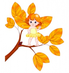 autumn baby fairy vector image vector image
