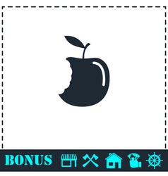 Bite apple icon flat vector