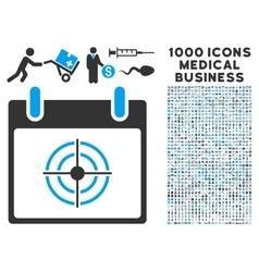 Bullseye calendar day icon with 1000 medical vector