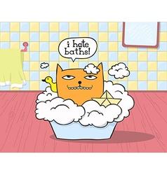 Cat Hates Bath vector image vector image