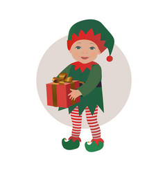 Cute baby wearing christmas elf costume vector
