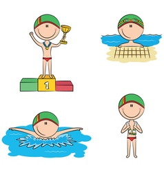 Cute swimmer boys in the pool vector image