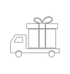 Delivery gift sign black dotted icon on vector
