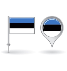 Estonian pin icon and map pointer flag vector image