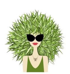 Female face with green grass hairstyle for your vector image
